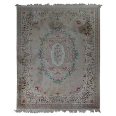 Antique French Handwoven Wool Aubusson Style Floral Carpet, circa 1920