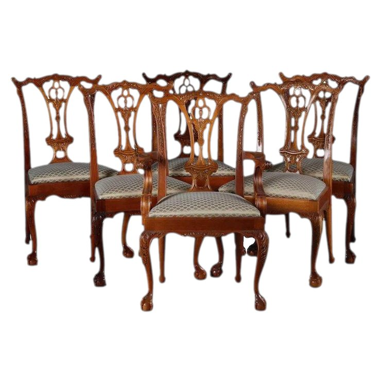 Six Baker School Carved Mahogany Chippendale Style Ribbon Back Dining Chairs - Six Baker School Carved Mahogany Chippendale Style Ribbon Back