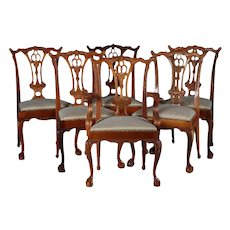 Six Baker School Carved Mahogany Chippendale Style Ribbon Back Dining Chairs