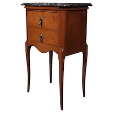 Antique French Louis XV Style Mahogany and Marble Two-Drawer Side Stand