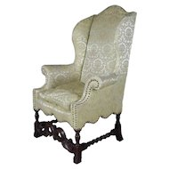 Antique English Edwardian Carved Mahogany Upholstered Wingback Chair, circa 1910