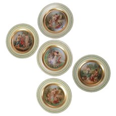 Set of Five Austrian Hand-Painted Vienna Porcelain Marriage Portrait Plates