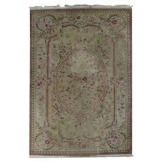 French Aubusson Style Floral Wool Rug, 20th Century