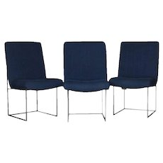 Three Mid-Century Modern Milo Baughman Blue and Chrome Occasional Chairs