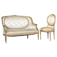 Antique French Louis XVI Style Carved Giltwood Upholstered Parlor Set