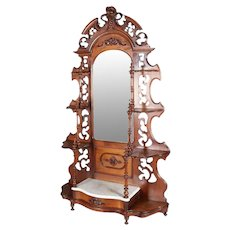 Victorian Carved Walnut and Marble Single Drawer Étagère Hall Pier Mirror
