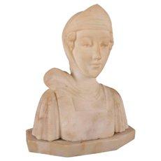 Antique Italian Carved Alabaster Portrait Bust Sculpture Dante's Beatrice