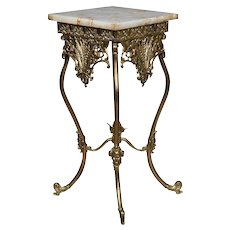 Antique French Louis XV Style Bronze and Onyx Plant Stand, circa 1890