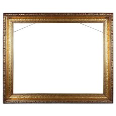 Arts & Crafts Carved Gold Modeled Giltwood Frame, 20th Century