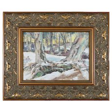 Oil on Canvas Impressionist Landscape Painting of Winter Scene, 20th Century