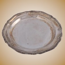 Continental Bohemian .800 Silver Serving Tray with Foliate Rim, circa 1940