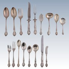 """91 Pc Set Sterling Silver Flatware """"English Gadroon"""" by Gorham, 20th Century"""