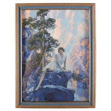 "Art Deco Print of ""Solitude"" after Original by Maxfield Parrish, Framed"