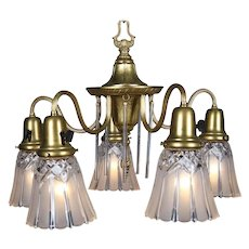 Neoclassical Style Five-Light Gilt & Crystal Chandelier by Williamson circa 1940