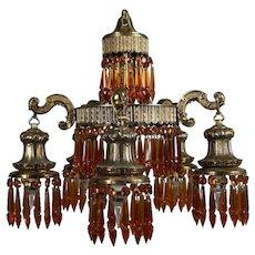 Antique Moorish Style Gilt & Amber Crystal Five Drop-Light Chandelier circa 1930