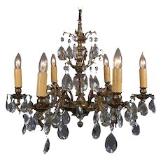 French Gilt Bronze & Crystal Scrolled Foliate Form Six-Arm Chandelier circa 1930
