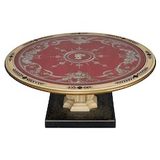 French Vintage Classical Hand-Painted and Gilt Pedestal Glass Top Coffee Table