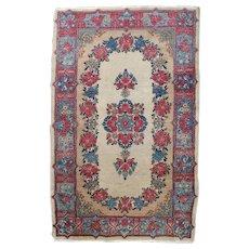 Vintage Persian Kirman Floral Persian Floral Mat Rug, circa 1930
