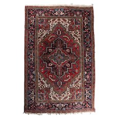 Antique Handwoven Heriz Persian Oriental Carpet, circa 1930