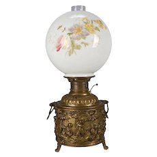 Antique Classical Embossed Brass Urn Form Gone with the Wind Table Lamp