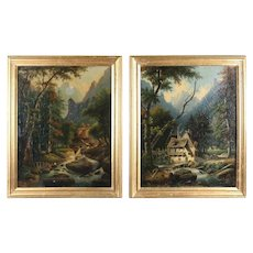 Antique Pair of Hudson River School Oil on Canvas Paintings, Giltwood Framed
