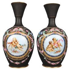 Two Antique French Classical Hand-Painted and Gilt Old Paris Porcelain Vases