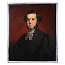 English Oil on Canvas Portrait of Scholar Hezekiah Clement Dukes, 19th Century