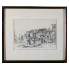 """English Etching """"The Thames Police"""" from the Thames Set by James Whistler, Early Restrike"""