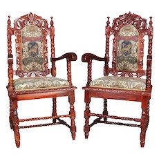 Pair of Carved Mahogany Renaissance Revival Style Upholstered Armchairs