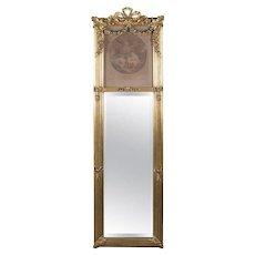 Antique French Louis XIV Style La Bonne Mere Giltwood Trumeau Mirror, circa 1900