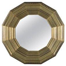 Linenfold Hollywood Regency Stylized Sunburst Deep Wall Mirror, 20th Century