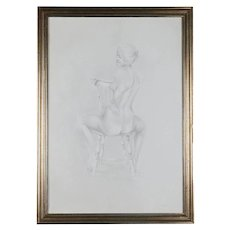 Mid-Century Modern Seated Nude Female Graphite Portrait by David Hanna