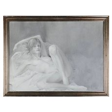 Mid-Century Modern Reclining Nude Female Graphite Portrait by David Hanna