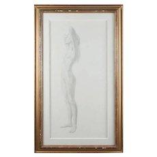 Monumental Mid-Century Modern Standing Nude Graphite Portrait by David Hanna