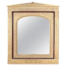 Antique Moorish Carved Giltwood and Velvet over Mantel Wall Mirror, 19th Century