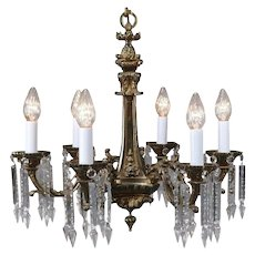 Traditional French Louis III Bronze and Crystal Five-Light Branch Chandelier