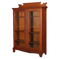Antique Horner Bros, School Carved Oak Double Glass Door Bookcase, circa 1910