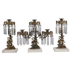 Antique French Figural Gilt, Crystal and Marble Bird Three-Piece Girandole Set
