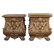 Oversized French Style Gilt Statuary Bombe Pedestal End Tables by Deprato