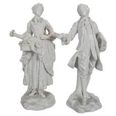 German Meissen Blanc de Chine Style Porcelain Figures, Courting Couple