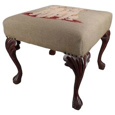 Chippendale Style Airedale Terrier Puppy Needlepoint Tapestry Footstool