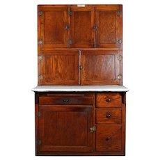 Antique Oak and Enamel Authentic Indiana Hoosier Cabinet, circa 1910
