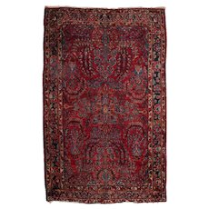 Persian Tree of Life Hand-Knotted Wool Painted Sarouk Rug, circa 1930