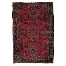 Persian Hand-Knotted Wool Floral and Foliate Sarouk Oriental Rug, circa 1930