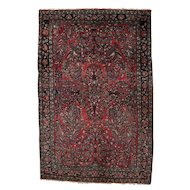 Persian Hand-Knotted Wool Sarouk Oriental Garden Rug, circa 1930