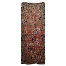 Antique Kurdish Caucasian Hand-Knotted Wool Oriental Long Rug, circa 1900