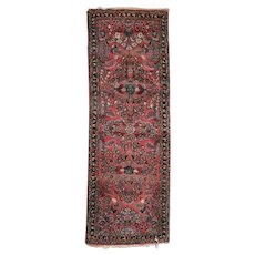 Persian Hand-Knotted Wool Floral Sarouk Oriental Rug Runner, circa 1930