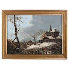 Antique Oil on Canvas Landscape Painting, Winter Scene with Barn, 19th Century