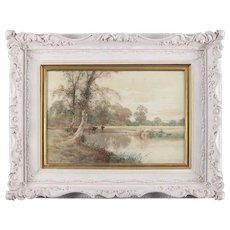 Antique British Watercolor Landscape Painting Signed Creswick Boydell circa 1903