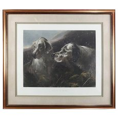 """Dog Bird Hunting Scene Engraving of Heywood Hardy's """"Setters at Work"""""""